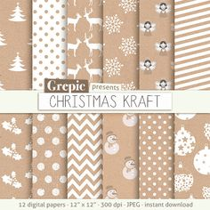 """Christmas digital paper: """"CHRISTMAS KRAFT"""" with white xmas patterns on brown kraft paper, incl craft deers, snowflakes, trees, angels, balls by Grepic on Etsy https://www.etsy.com/listing/152636495/christmas-digital-paper-christmas-kraft"""