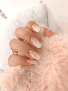 with nails white manicures \ with nails white ; with nails white nailart ; with nails white pink ; with nails white manicures ; with nails white silver glitter ; white nails with designs Summer Acrylic Nails, Best Acrylic Nails, Acrylic Nail Designs, Summer Nails, Pink Nail Designs, Acrylic Art, Baby Pink Nails Acrylic, White Glitter Nails, Gold Glitter