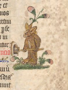 illustration from a 14th-century manuscript depicts a rabbit baking its own bread in a miniature oven - from Lansdowne MS 451, f. 6r