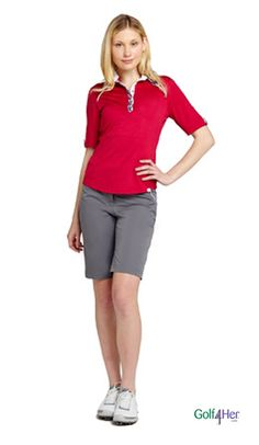 Golf #OOTD: pewter and crimson red #golf4her #ggblue