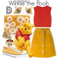 Disney Costumes Winnie the Pooh // red tank / yellow skirt/shorts / yellow shoes / bee jewelry Disney Bound Outfits Casual, Cute Disney Outfits, Disney Themed Outfits, Disneyland Outfits, Disney Dresses, Cute Outfits, Disney Clothes, Karneval Outfits, Fashion Foto