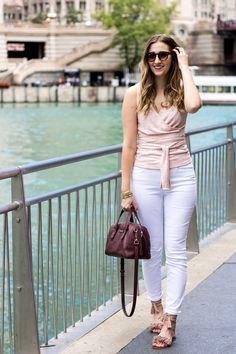 Gap Wrap Tank + J. Crew White Skinny Jeans // spring dressy outfit idea