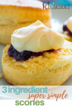 Healthy Meals For Kids 3 ingredient scones. Super simple and so yummy! Perfect for afternoon tea and making with the kids! Cooking With Kids Easy, Kids Cooking Recipes, Kids Meals, Healthy Afternoon Snacks, Yummy Snacks, Healthy Snacks, Healthy Cooking, Lunch Box Recipes, Dessert Recipes
