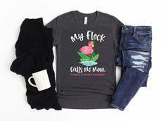Flamingo Shirt Custom Flamingo Gift My Flock Calls Me Mom | Etsy Flamingo Shirt, Flamingo Gifts, Call My Mom, Baseball Shirts, Grandma Gifts, Pink Flamingos, Cute Pink, Mom Shirts, Custom Shirts