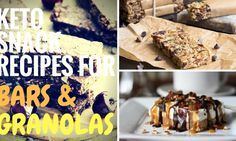 13 Easy Low Carb and Keto Granola and Chocolate Bars Recipes Low Carb Granola Bars Recipe, Keto Granola, Cheesecake Recipes, Keto Recipes, Snack Recipes, Dessert Recipes, Bar Recipes, Desserts, Chocolate Bar Recipe
