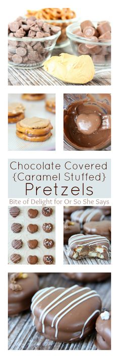 chocolate covered caramel stuffed pretzels.