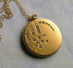 Antique Locket With Paste Stones Gold Filled