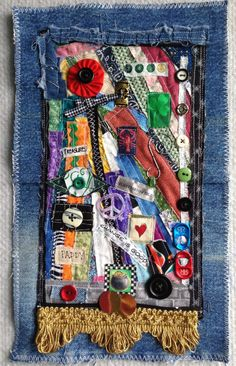 Textile art wallhanging by Lisa mixed media art por Lucismiles