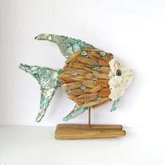Driftwood Sculpture Fish Angelfish Shells Tropical Fish Art Aqua Turquoise Pearl Abalone Beach Coastal Nautical Decor