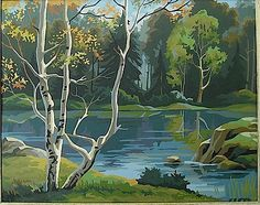 """Vintage Mid Century Craft Master Paint By Number """"Peaceful Shadows"""" Painting"""