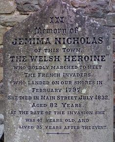 Gravestone of Welsh heroine Jemima Nicholas outside St Mary's Church, Fishguard Cemetery Headstones, Old Cemeteries, Cymru, South Wales, Wales Uk, All Family, Prince Of Wales, Women In History, My Father
