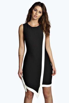ca01c29ce5e9 Jolie Contrast Colour Asymmetric Bodycon Dress at boohoo.com Petite Winter  Coats, Dress For