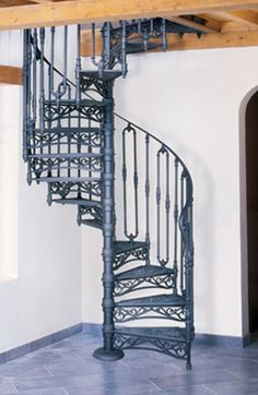 THE ROMA SPIRAL STAIRS - Cast iron Spiral staircases for either interior or exterior. So I've pretty much loved these things since forever Attic Staircase, Spiral Staircases, Staircase Interior Design, Cast Iron, It Cast, Wrought Iron Stairs, Exterior Stairs, Attic Bedrooms, Stairway To Heaven