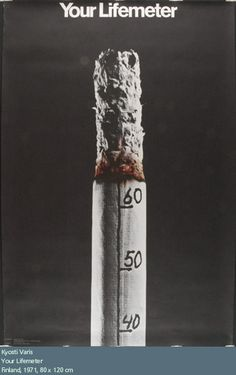 BOBBY This is a visual metaphor for a anti-smoking ad.  The image depicts a burning cigarette, which has meter markings on it.  The meter on the cigarette symbolizes our lifemeter, and that by lighting up the cigarette, it burns away our life.
