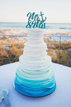 Gorgeous Beach Style Wedding Cake Topper for the New Mr & Mrs! | Cake Topper by Z Create Design www.ZCreateDesign.com or ZCreateDesign on Etsy