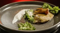 Squab with Kale, Almonds and Onion Cream