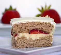 Strawberry Cake filled with Sweet Vanilla Mascarpone Cream