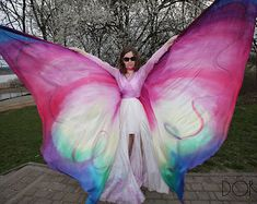 Items similar to Belly dance wings, hand painted silk. Made to order - multicolored, ombre, pattern. Unique handmade wings in your colors on Etsy