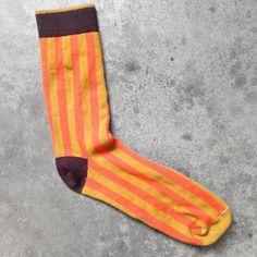 Light orange Vertical Striped Men's Dress socks. Noble Status Men's Dress Socks.