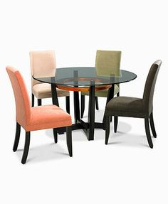 Cappuccino Dining Room Furniture, Round 5 Piece Set (Table and 4 Microfiber Chairs) - furniture - Macy's