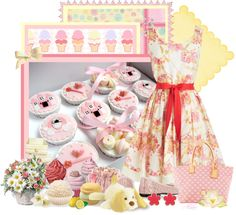 """Pink cupcakes"" by albaor ❤ liked on Polyvore"