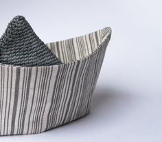 Room decor Boat in striped grey linen fabric.