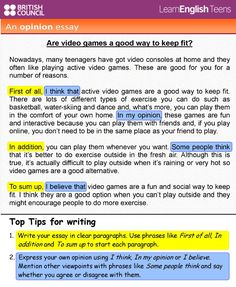 An opinion essay (info) English Exam, Learn English Grammar, English Language Learning, English Phrases, Learn English Words, English Vocabulary, Essay Writing Examples, Essay Writing Skills, English Writing Skills