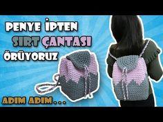How to Crochet Dino Backpack - Design Peak Crochet Shell Stitch, Knit Crochet, Crochet Hats, Crochet Handbags, Crochet Purses, Crochet Backpack Pattern, Backpack Tutorial, Crochet T Shirts, Crochet Videos