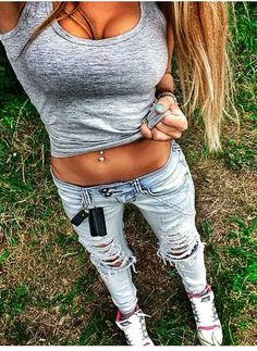 tank top + ripped jeans