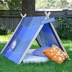 Make this easy A-Frame tent for the kids.  It's perfect for the backyard.  The tent is much sturdier than the typical DIY.