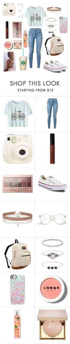 """""""Outfit #64"""" by jaelyn-davis447 ❤ liked on Polyvore featuring 7 For All Mankind, Fujifilm, Lord & Berry, Maybelline, Converse, Miss Selfridge, JanSport, Accessorize, Casetify and LORAC"""