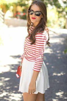 White skirt + red-white stripe shirt