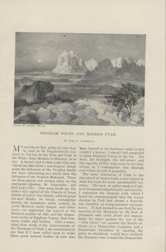 """An original article from an 1895 Cosmopolitan magazine titled """"Brigham Young and Modern Utah"""" by John A. Cockerill with illustrations by Thomas Moran."""