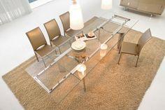 tisch mit ausziehbare glasplatte