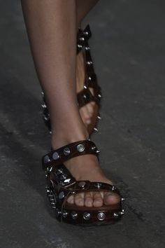 Designer @AlexanderWangNY takes on the summer sandal with heavy hardware for #SS16 #NYFW