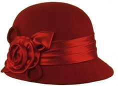Sakkas Womens Vintage Style 100% Wool Cloche Bucket Winter Hat with Satin Flower Accent ( 6 Colors ) @ £25