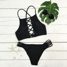 Cupshe Little Black Lace Up Bikini Set