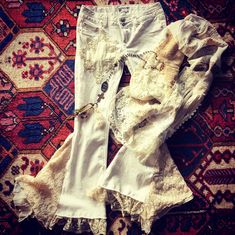 upcycled white denim and lace bell bottoms Denim And Lace, White Denim, Bell Bottoms, Upcycle, Fur Coat, My Style, Jackets, Vintage, Design