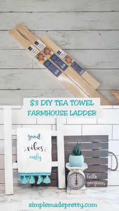 DIY Dollar Store Farmhouse Ladder - Tea Towel Ladder - DIY farmhouse ladder, farmhouse ladder ideas, farmhouse ladder on wall, how to make a farmhouse lad - tree diy hacks Dollar Tree Decor, Dollar Tree Crafts, Dollar Tree Store, Dollar Stores, Dollar Dollar, Dollar Tree Fall, Dollar Tree Finds, Dollar Store Hacks, Dollar Store Christmas