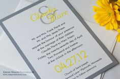 Clean Modern Wedding Invitations Sets Yellow And Grey Sample