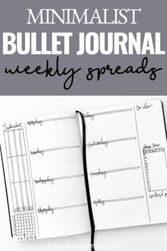I am so excited to bring you these minimalist inspired weekly bullet journal spreads! I took some time drawing these up and then took even longer trying to figure out how to photograph them. Click to read more. January Bullet Journal, Bullet Journal Monthly Spread, Bullet Journal How To Start A, Bullet Journal Themes, Bullet Journal Inspiration, Bullet Journal Prompts, Bullet Journal Minimalist, Journal Pages, Journal Ideas