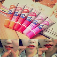Bundle 6 Tattoo Magic / Romantic bear lipstick * sexy red * cherry red * rose pink * lovely peach  * watermelon  *orange  100% brand new with great quality; Sexy,beautiful, avant-garde, romantic,long lasting; Eat, drink water, swimming, sauna, do not fade; Great gift to your friends or yourself. Condition: Brand New Size(Approx): 10*2cm.  How to use??  1- Take it on your lips evenly ( use a little more each time) 2- After 5 or 10 mins, the lipstick will be a thin film, peel off it slightly…