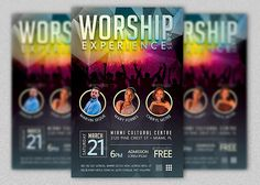 Worship Concert Flyer Template for any kind of church concert event. The modern design with light friendly colors will appeal to a wide demographic. Flyer