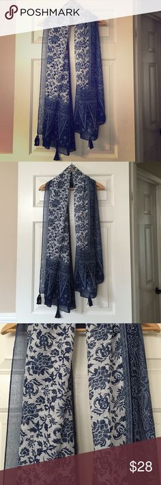 NWT Blue Floral Boho Sheer Tassle Scarf New with tags Accessories Scarves & Wraps