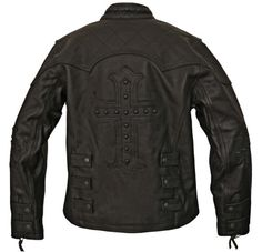 Milwaukee Motorcycle Clothing Company Ladies Scooter Jacket with Studded Cross On Back And Sleeves (Black, X-Large)
