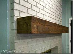 Rough-Hewn Wood DIY Fireplace Mantel – Addicted 2 Decorating® – Julie W. Reclaimed Wood Mantel, Rustic Mantle, Diy Fireplace Mantel, Rustic Fireplaces, Fireplace Remodel, Brick Fireplace, Fireplace Ideas, Wood Mantel Shelf, White Mantle