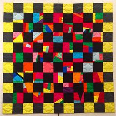 full circle // finished! // the improv pieces were from some of my first forays into quilting, circa 2010, and its cotton mostly, with bits of #dupionisilk and #corduroy! #handquilted with #perlecotton #improvisational #improvisationalquilting #circles #modernquilting #quilting #faced