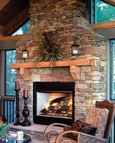 Fireplace using Daco's Real Cut Stone. Thin veneer natural stone.