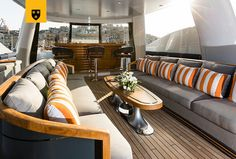 The most customized Amels Limited Editions to date, ENGELBERG has been designed to perfectly meet her Owner's needs. Advanced personal communications systems, a unique aft deck layout, and a charcoal grey hull with a hint of orange make this yacht a true original. She features a stunning interior design by Enzo Enea, who blended the Mediterranean environment into the yacht's interior décor. Engelberg, Deck, Yacht Interior, Communication System, Interior Decorating, Interior Design, Charcoal, Porn, Environment