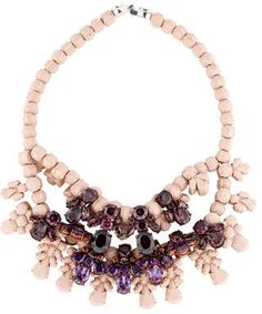 Creme EK Thongprasert C. Anna Louise silicone bead necklace with rose-gold tone brass hardware, prong set purple glass crystals and foldover clasp closure. Includes box.